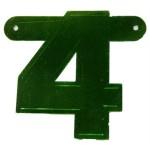 Banner letter cijfer 4 groen metallic