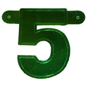 Bannerletter cijfer 5 groen metallic