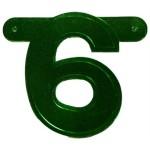 Banner letter cijfer 6 groen metallic