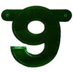 Bannerletter cijfer 9 groen metallic