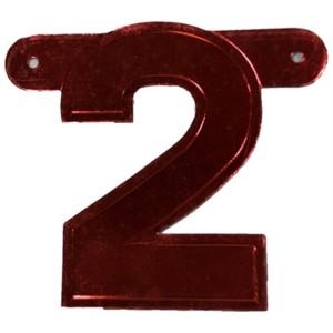 Banner letter cijfer 2 rood metallic