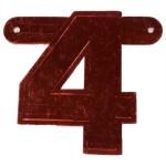 Banner letter cijfer 4 rood metallic