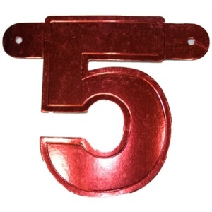 Bannerletter cijfer 5 rood metallic
