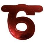 Banner letter cijfer 6 rood metallic