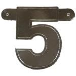 Bannerletter cijfer 5 zilver metallic
