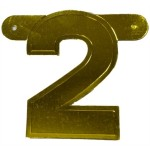 Banner letter cijfer 2 goud metallic