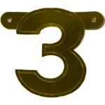 Banner letter cijfer 3 goud metallic