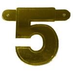 Bannerletter cijfer 5 goud metallic