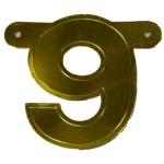 Bannerletter cijfer 9 goud metallic