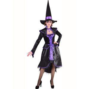 Heks zwart-paars 1-delige jurk