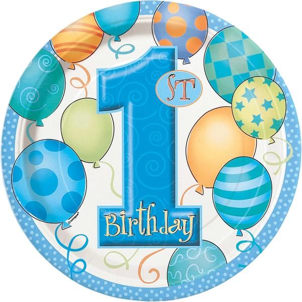 Top Borden 1e verjaardag blauw - feestartikelen bestellen 1 jaar bordjes @BT48