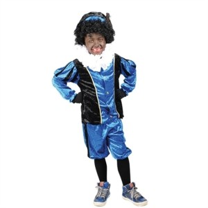 Pietpak velours blauw-zwart
