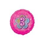 Folieballon roze bloem 3 jaar
