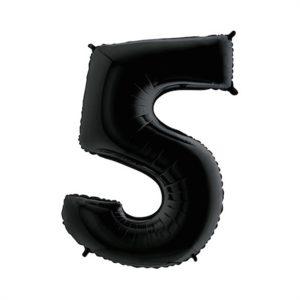 Folieballon zwart 100 cm cijfer 5