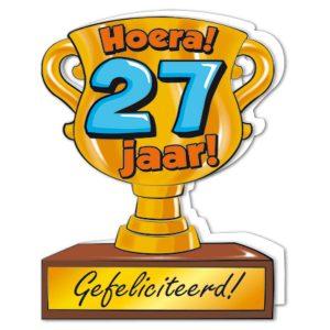 wenskaart Gefeliciteerd hoera 27 jaar