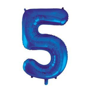 Folieballon 5 blauw 92 cm