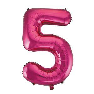 Folieballon 5 roze 92 cm