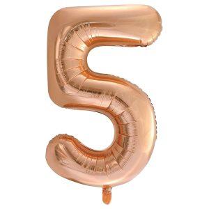 Folieballon 5 goud rose 92 cm