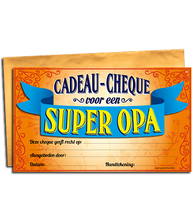Super Cadeau cheque super opa - goedkope kado artikelen on line vaderdag @XC98