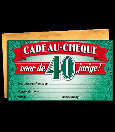 Top Cadeau cheque 40 jaar - goedkope kado artikelen on line feestartikelen &PL18