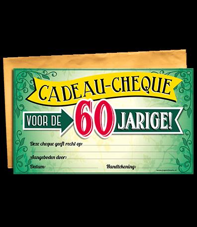 Spiksplinternieuw Cadeau cheque 60 jaar - goedkope kado artikelen on line feestartikelen ER-91