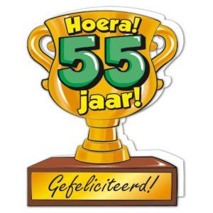 wenskaart Gefeliciteerd hoera 55 jaar