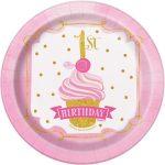 Bordjes roze-gouden print 1 jaar