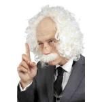 Schedel professor met snor en bril herenpruik-Einstein