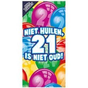 Tissuebox Niet huilen 21 is niet oud