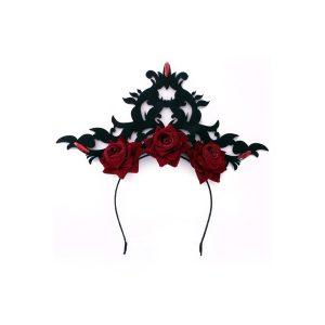 Diadeem zwarte kroon met rozen