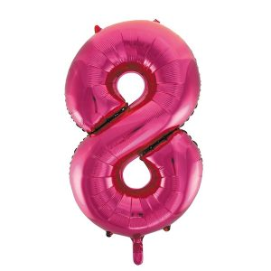 Folieballon 8 roze 92 cm