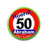 Button hoera Abraham verkeersbord