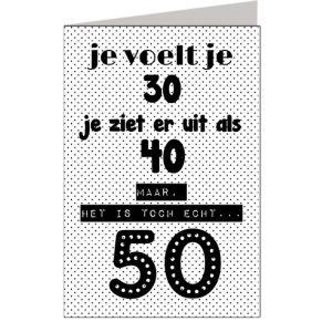 Wenskaart Paperbird Het is toch echt 50