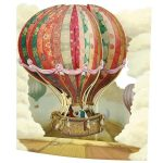 3D swing card Hot air balloon