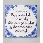 Tegel Delftsblauw Lieve oma
