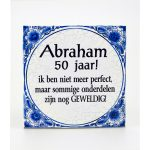 Tegel Delftsblauw Abraham 50 jaar
