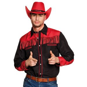Shirt western rood-zwart